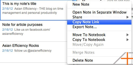 Copy Note Link in Evernote