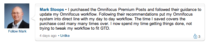 Another OmniFocus Premium Posts testimonial