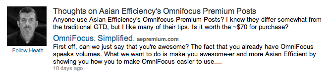 LinkedIn discussion on OmniFocus Premium Posts